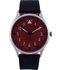 reloj negro-plateado-rojo fossil