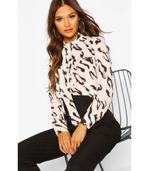 woven animal print pussy bow blouse, nude