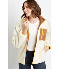 maurices womens white sherpa contrast zipper jacket beige
