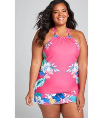 lane bryant women's relaxed swim tankini top with no-wire bra - high neck 28 hibiscus tropics