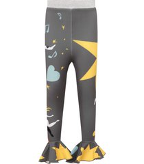 raspberry plum grey leggings for girl with colorful prints