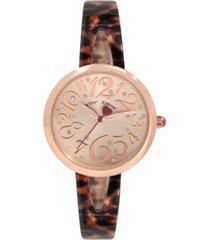 betsey johnson women's rose gold-tone and plastic tortoise half bangle bracelet watch 34mm
