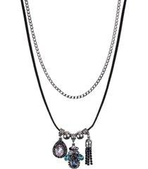 colar armazem rr bijoux duplo corrente corino preto pingentes azul e rosa grafite