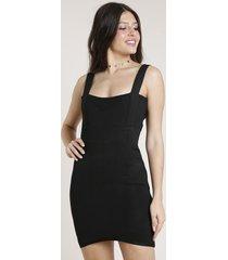 vestido feminino triya curto bandagem alça larga preto