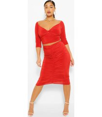 plus twist front top and ruched midi skirt, rust