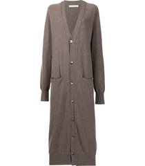 extreme cashmere long buttoned cardi-coat - grey