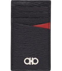 men's salvatore ferragamo revival leather money clip card case - black