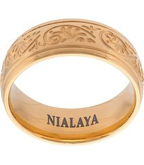 nialaya jewelry decorative engraved ring - yellow