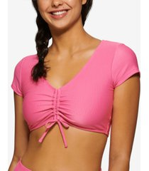 hula honey juniors' cropped tie-front ribbed swim top, created for macy's women's swimsuit
