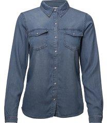 vibista denim shirt/su-noos långärmad skjorta blå vila