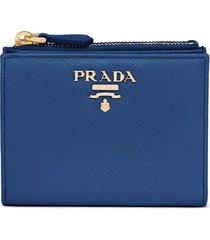prada logo-plaque bi-fold wallet - blue