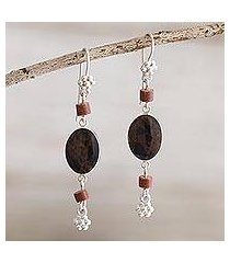 mahogany obsidian and jasper dangle earrings, 'impulse' (peru)
