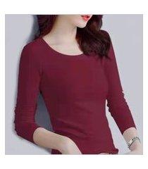blusa térmica feminina peluciada/flanelada segunda pele manga longa inverno vermelho