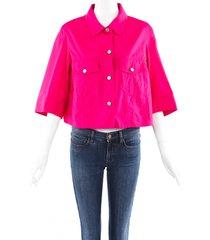 dries van noten pink cotton ruffle swing jacket pink sz: s