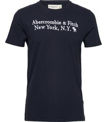 core heritage logo t-shirts short-sleeved blå abercrombie & fitch