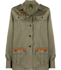 alessandra chamonix embroidered military jacket - green
