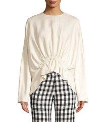 linen-blend gathered waist blouse