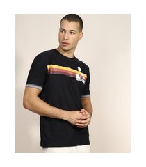 camiseta masculina com listra manga curta gola careca preto