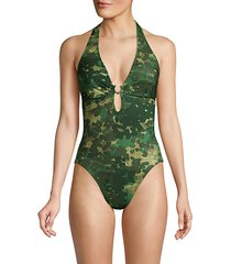 eden abstract print plunge one-piece bathing suit