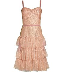metallic tiered fit-and-flare dress