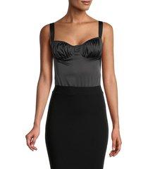 danielle bernstein women's ruched satin bodysuit - black - size 0
