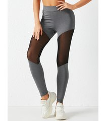 yoins leggings deportivos de cintura alta con patchwork de malla gris