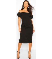 maternity bardot puff sleeve midi dress, black