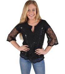 blusa aplic mostacilla negra alexandra cid