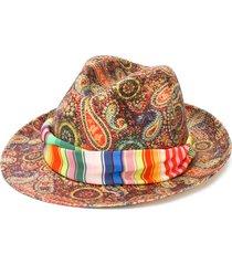 etro paisley print panama hat - red