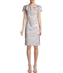 silk floral jacquard sheath dress