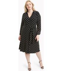tommy hilfiger women's essential curve long-sleeve polka dot dress black/ ivory - 14w