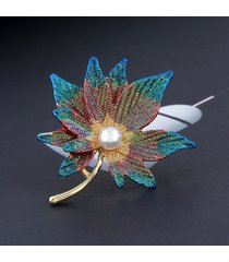 moda grande foglia spilla foglie d'acero perla spilla gioielli per le donne accessori per il vestito