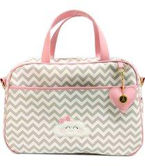 bolsa maternidade chevron cinza com nuvem alinhado baby - tam m rosa - rosa - menina - dafiti