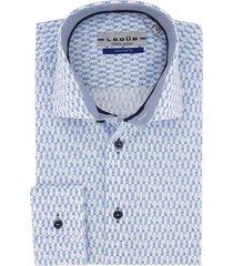 blouse ledub tailored fit blauw wit geprint
