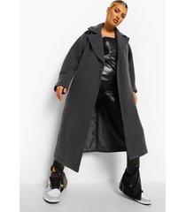 oversized nepwollen cocoon jas, grey marl