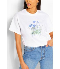 bloemenprint slogan t-shirt, wit