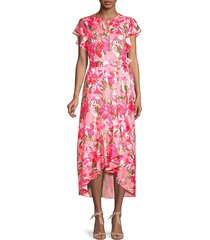 ava & aiden women's floral-print high-low dress - island floral - size s