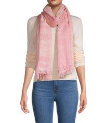 saachi women's metallic fringe-trim cotton-blend scarf - pink