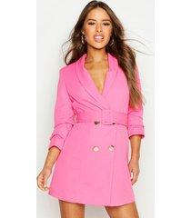 petite blazer jurk met ceintuur en knopen, warm roze