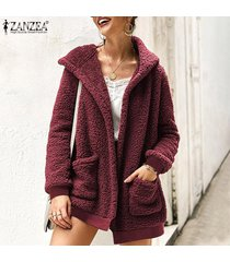 zanzea mujeres abrigo de piel con capucha cardigan jumper sweater fluffy flush fleece coat -rojo
