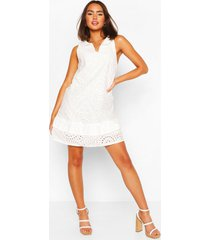 broiderie anglais ruffle detail swing dress, white