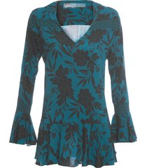 blusa feminina recortes zig expresso dark - verde