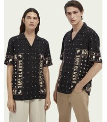 scotch & soda born to love unisex printed ecovero™ hawaiian shirt