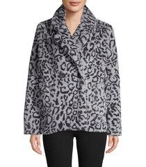 joujou women's faux fur notched jacket - grey - size l