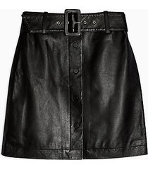 black leather mini skirt - black