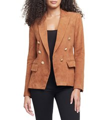 women's l'agence kenzie double breasted suede blazer, size 2 - brown