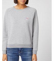 maison kitsuné women's tricolor fox patch sweatshirt - grey melange - xs