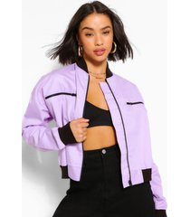 woven zip detail bomber jacket, lilac