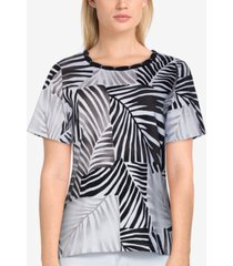 alfred dunner petite classics leaf-patch top