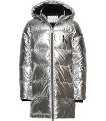 silver puffer long coat gevoerd jack zilver calvin klein